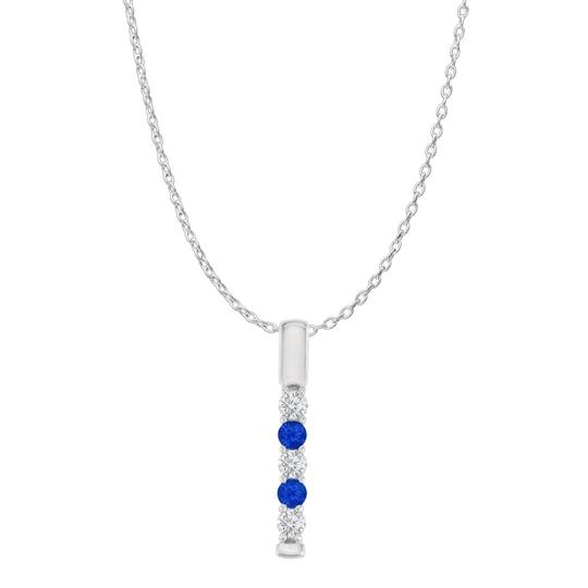 Preload https://img-static.tradesy.com/item/23747846/blue-sapphire-cz-5-stone-vertical-bar-pendant-in-925-silver-necklace-0-0-540-540.jpg