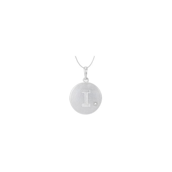 White Sterling Silver 925 Rhodium Plating Block Initial I Disc Pendant With Necklace White Sterling Silver 925 Rhodium Plating Block Initial I Disc Pendant With Necklace Image 1