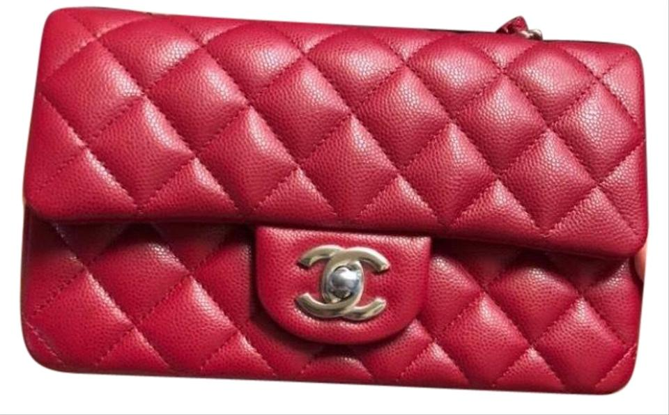 2788eec2be62 Chanel Classic Flap 18 B Rectangular Mini Dark Pink (Looks More Rasberry  Red) Caviar Leather Cross Body Bag