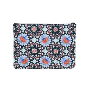 Chanel Multicolored Flower Limited Blue Clutch