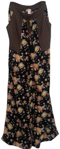 Band of Gypsies Flare Pants blackbackground with coraland yellow flowers