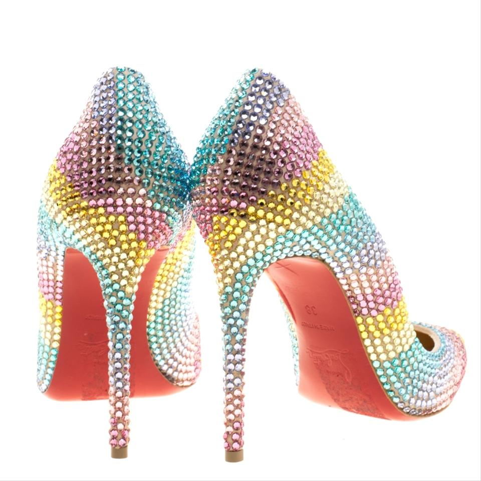 308125635d9a Christian Louboutin Crystal Embellished Suede Leather Multicolor Pumps  Image 7. 12345678