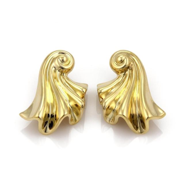 19494x Large Fancy Long Curled Shell 18k Gold Earrings 19494x Large Fancy Long Curled Shell 18k Gold Earrings Image 1