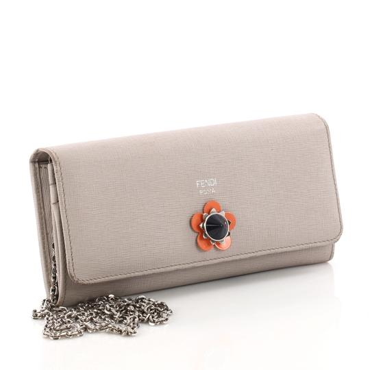 Fendi Continental Wallet on Chain Flower Studded Leather