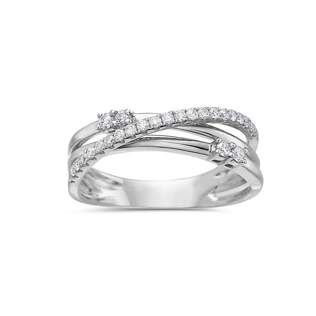 Ladies 18k White Gold with 0.35 Ct Right Hand Ring Ladies 18k White Gold with 0.35 Ct Right Hand Ring Image 1