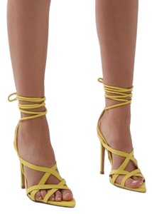 Public Desire Heels Sandals Lace Up Sandals yellow Pumps