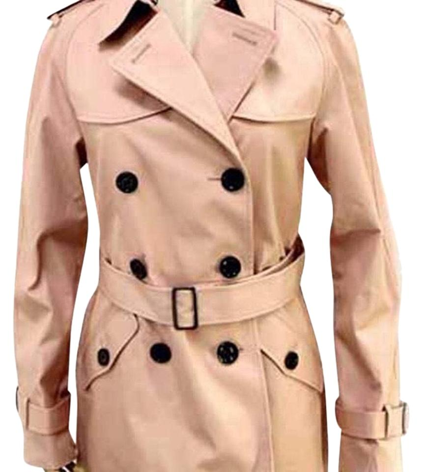 Coach Blue Double Breasted Leather Trim Coat Size 6 (S