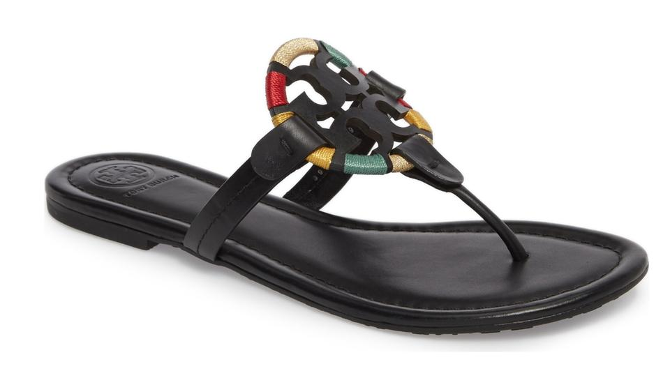 96f8c5b6cee0 Tory Burch Logo Medallion Thong Signature Miller Black Sandals Image 0 ...