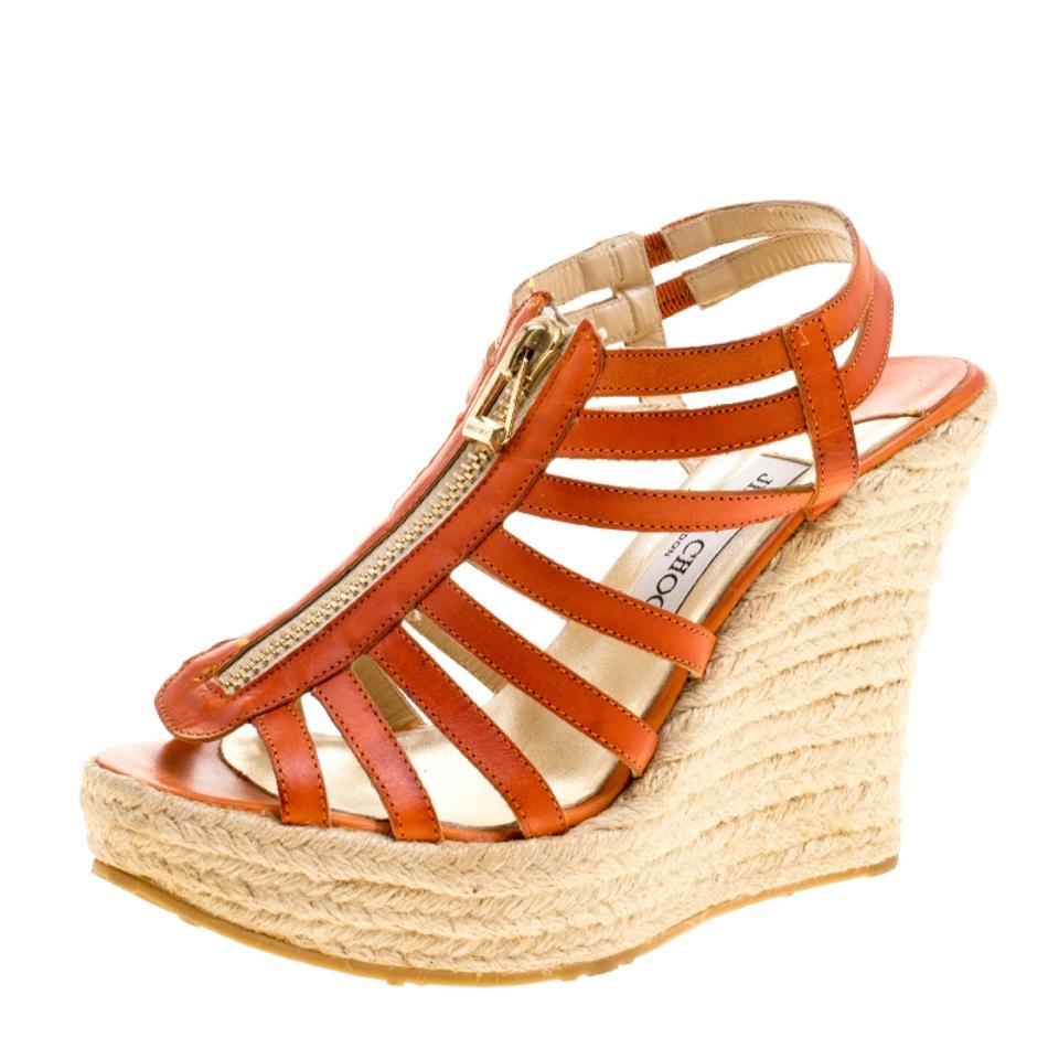 Jimmy Choo Leather Orange Leather Choo Palermo Wedge Sandals 4f582f