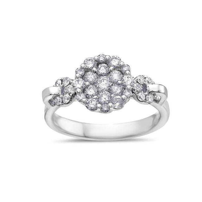 Ladies 18k White Gold with 0.90 Ct Cluster Engagement Ring Ladies 18k White Gold with 0.90 Ct Cluster Engagement Ring Image 1