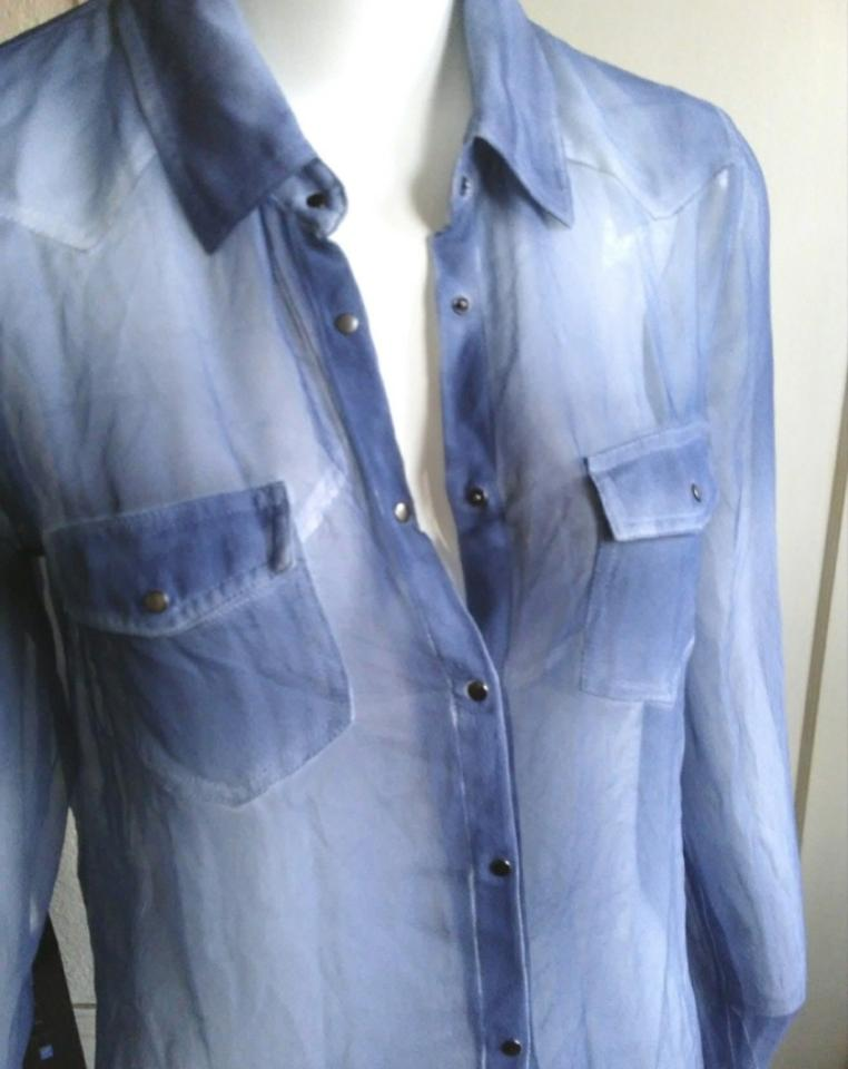 688cc296325ec5 Equipment Blue Denim Silk Button-down Top Size 4 (S) - Tradesy