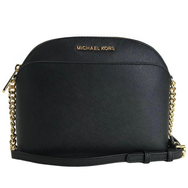 MICHAEL Michael Kors New Emmy Medium Saffiano Black Leather Cross Body Bag MICHAEL Michael Kors New Emmy Medium Saffiano Black Leather Cross Body Bag Image 1