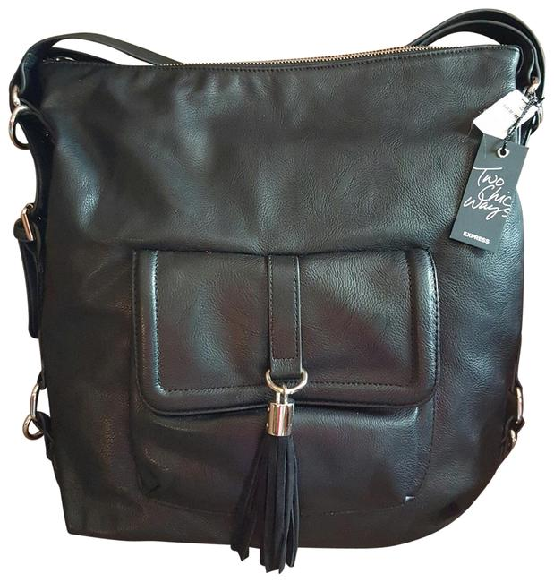 Item - Two Chick Ways Black Faux Leather Backpack