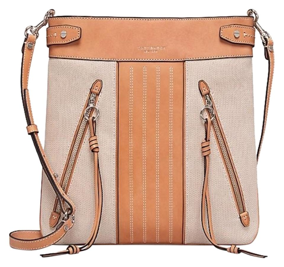 83a9965d769 Tory Burch Moto Tall Natural Canvas Leather Cross Body Bag - Tradesy