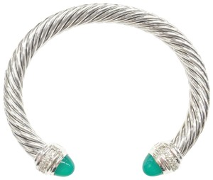 David Yurman David Yurman Green Onyx and Diamond Classic Cable Bracelet