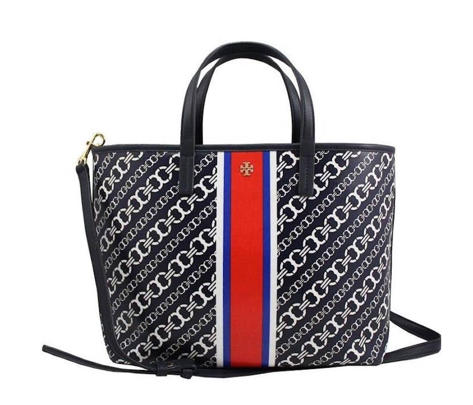 7aae45cb75e Tory Burch Gemini Link Crossbody Bag New Small Purse Navy White Red Coated  Canvas Tote
