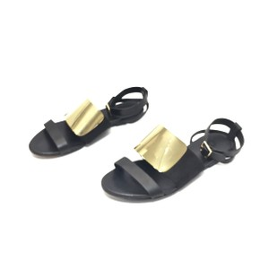 See by Chloé Leather Gold Hardware Ankle Strap Flat Black Sandals