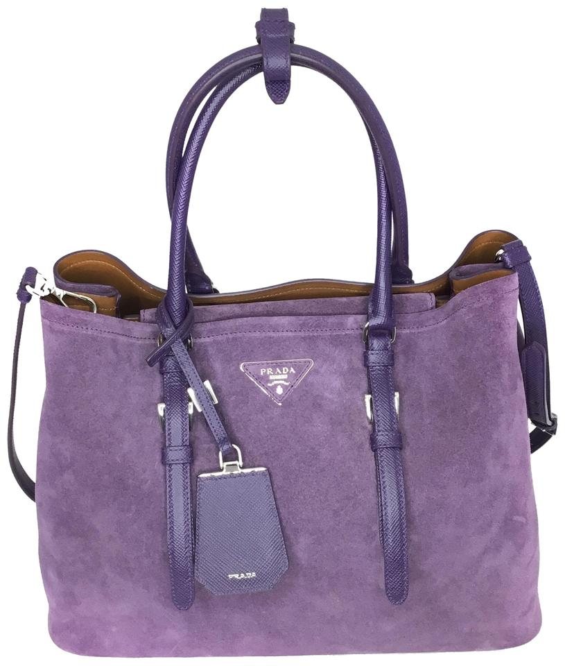 a0d820aac6 Prada Double Purple Suede Shoulder Bag - Tradesy