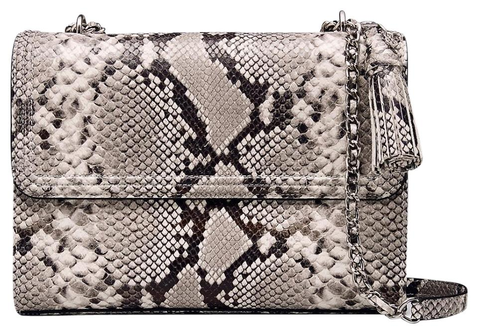 Leather Bag Shoulder Fleming Tory Burch Snakeskin aqwgxUq0t