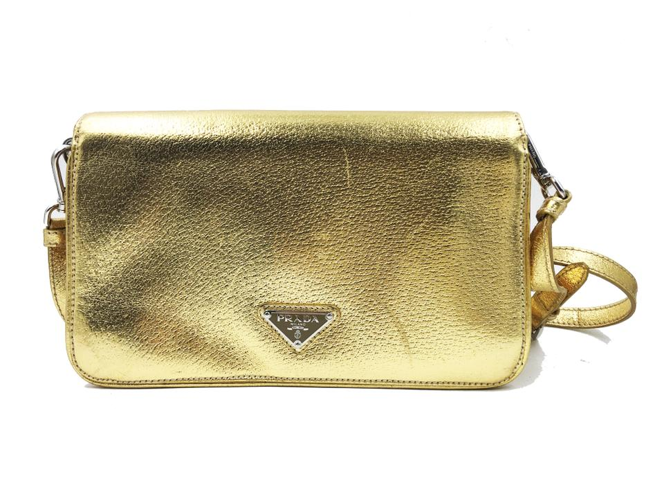 Leather Cross Bag Gold Prada Body XAFpR