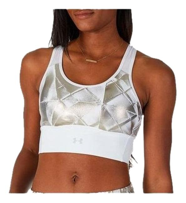 Under Armour White/Silver Mid Crossback Metallic Print M Activewear Sports Bra Size 10 (M, 31) Under Armour White/Silver Mid Crossback Metallic Print M Activewear Sports Bra Size 10 (M, 31) Image 1