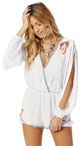 Lovers + Friends Embroidered Ruffle Cut-out V-neck Longsleeve Dress
