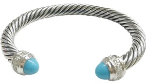 "David Yurman GORGEOUS David Yurman Turquoise and Diamond Classic Cable Cuff Bracelet Sterling Silver 7mm Size: Medium 7.25"" 100% Authentic Guaranteed!! Comes with Original David Yurman Pouch!! NEVER WORN! BRAND NEW WITHOUT TAGS!!"