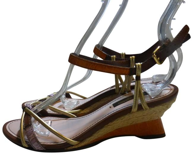 Item - Gold Orange Lilac Brown Italy Wedges Size EU 36 (Approx. US 6) Regular (M, B)
