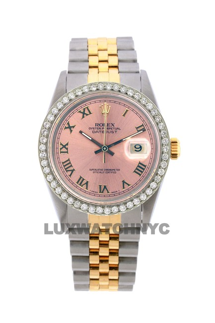 Rolex Pink Dial 1.6ct 36mm Men's Datejust 2-tone with Appraisal Watch Rolex Pink Dial 1.6ct 36mm Men's Datejust 2-tone with Appraisal Watch Image 1