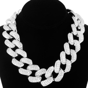 Master Of Bling 14k White Gold Finish Iced Out Cuban Choker 30MM 18IN Necklace
