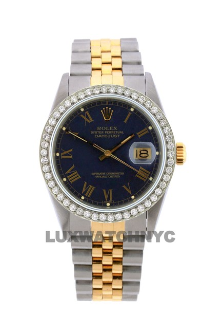Rolex Navy Dial 1.6ct 36mm Men's Datejust 2-tone with Appraisal Watch Rolex Navy Dial 1.6ct 36mm Men's Datejust 2-tone with Appraisal Watch Image 1