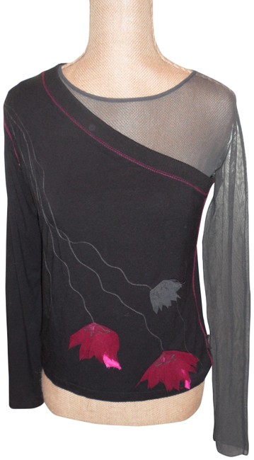 Item - Multicolor Paris Fab 2pc. Inside Shear One Sleeve Outside Solid Tee Shirt Size 12 (L)