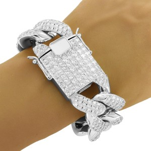 Master Of Bling Designer Men's Hip Hop 30MM 14k White Gold Finish Bracelet