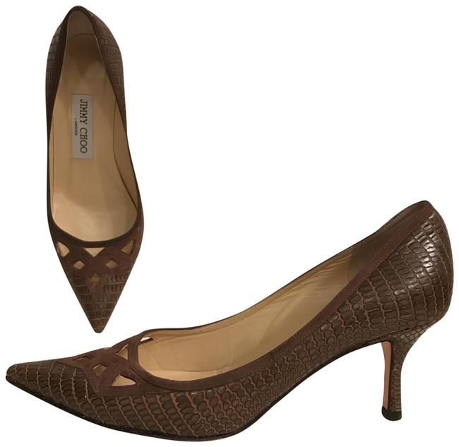 Jimmy Choo Brown Lizard Leather Cut Out Detail Pointy Toe Pumps Size EU 36 (Approx. US 6) Regular (M, B) Jimmy Choo Brown Lizard Leather Cut Out Detail Pointy Toe Pumps Size EU 36 (Approx. US 6) Regular (M, B) Image 1
