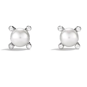 David Yurman David Yurman Pearl and Diamond Cable Post Earrings Sterling silver with 14k yellow gold posts Pearls are 6mm Four pavé diamonds on each earring weighing 0.03 carats total weight 100% Authentic Guaranteed Comes inside original David Yurman pouch!