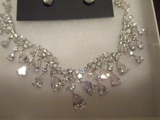 Silver/Rhodium Hollywood Glamour Crystal Necklace Earrings Couture Jewelry Set