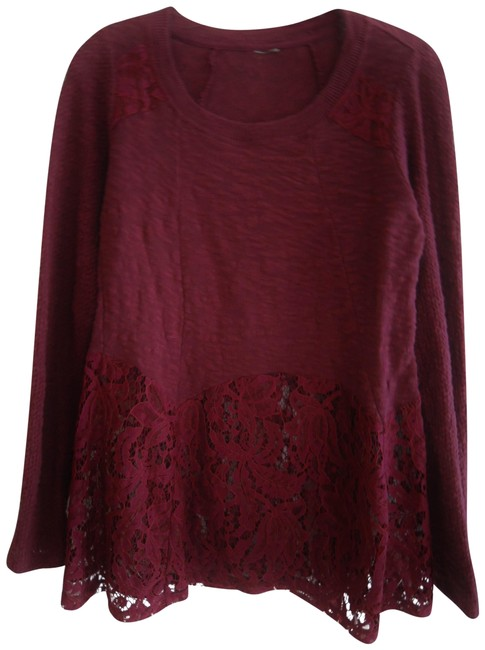 Item - Maroon (Deep Red) L Ladies Lace Trim Extender Bottom Burgundy Red L/S Sleeve Tunic Size 10 (M)