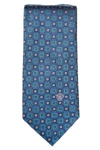 Versace Versace men's blue and navy silk medallion print tie NWOT