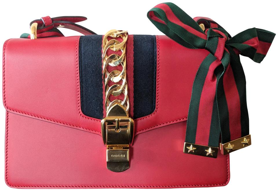 99bd5fe000999c Gucci Sylvie Small Red Leather Shoulder Bag - Tradesy