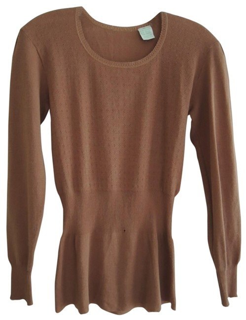 Item - Terra Cotta Clay Pot Color Ladies Ribbed Waist Wool Blend Pullover Tunic Size 6 (S)