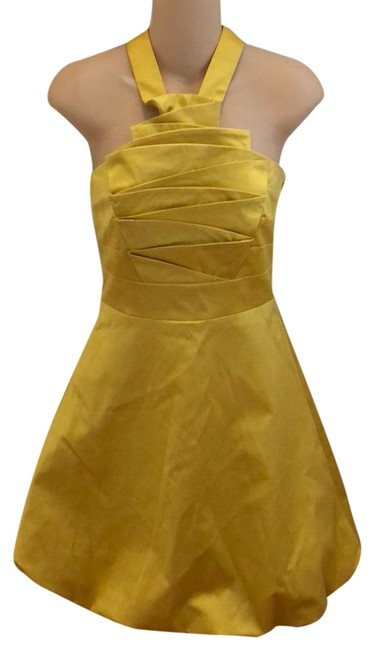 Karen Millen Yellow Cupcake Short Formal Dress Size 6 (S) Karen Millen Yellow Cupcake Short Formal Dress Size 6 (S) Image 1