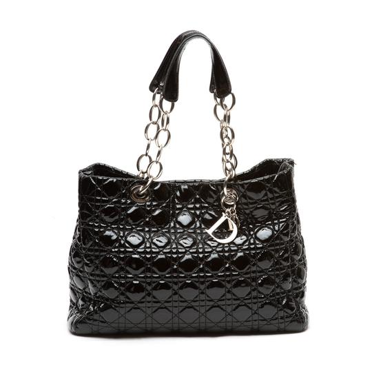 0538154b7ac Dior Cannage Quilted Soft Large Shopping Black Patent Leather Tote ...
