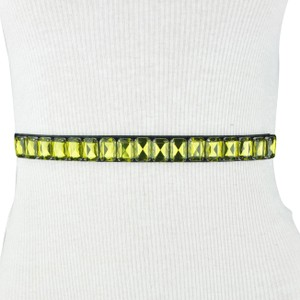 BCBGeneration Black Yellow Gem Stretch Belt Size S/M