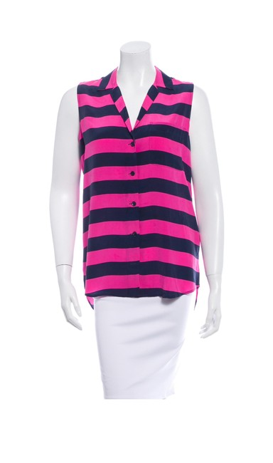 Item - Pink and Blue Weq28766 Button-down Top Size 2 (XS)
