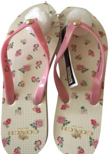 Coach Feminine And White Flowered 7b New With Tags--White with Pink Posies Sandals