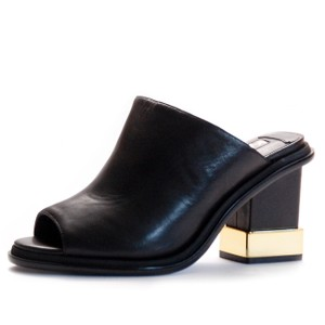 Kat Maconie Evening Date Night Mules Gold Hardware black Platforms