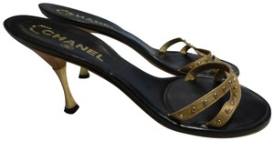 Chanel GOLD STRAP & HARDWARE; BLACK LEATHER INSOLE Mules