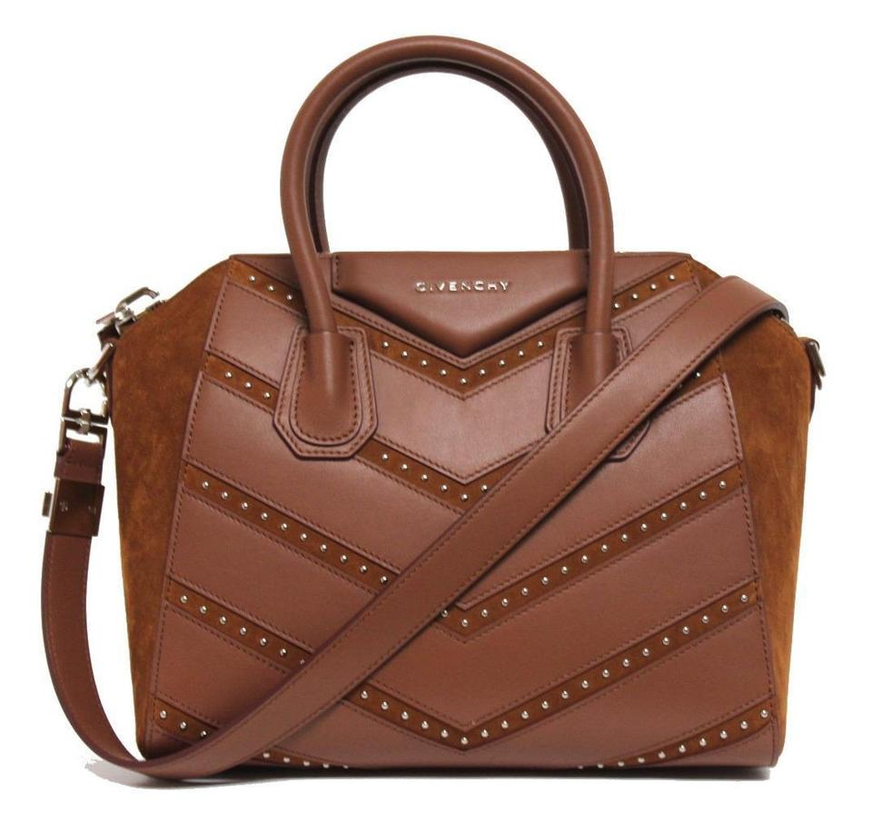 Cognac Small Leather Antigona Givenchy Studded Chevron Suede Calfskin Calf Satchel New nwqwO0atC