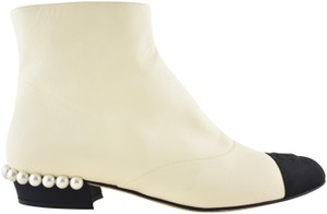 Chanel Stiletto Leather Lambskin Ankle ivory Boots