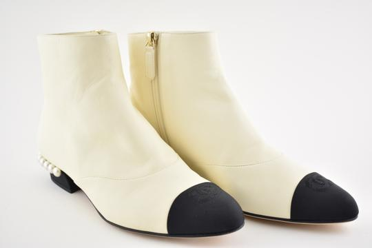 Chanel Stiletto Leather Lambskin Ankle ivory Boots Image 1